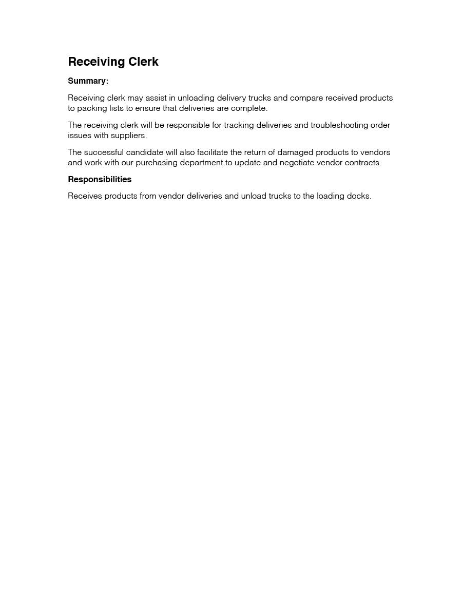 shipping clerk receiving clerk apparel prep - Shipping Clerk Job Description